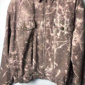Vintage Jackets & Coats - Vintage 90s Bleach Dyed Splatter Zip Bomber Jacket